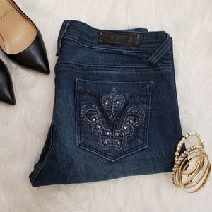 VIGOSS Skinny Fit Dark Rhinestoned Denim